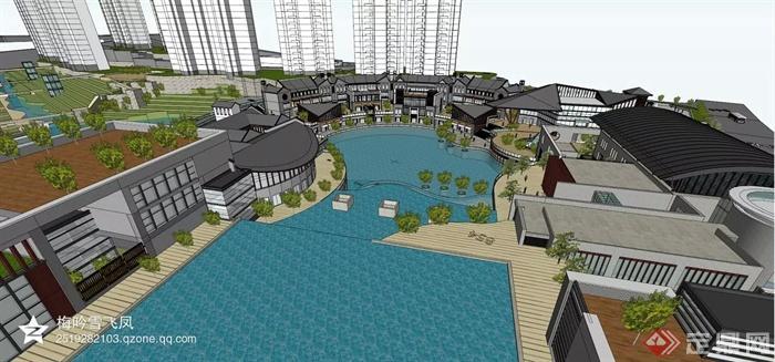 现代风格及欧式风格商住建筑-商业街水池商业建筑-师