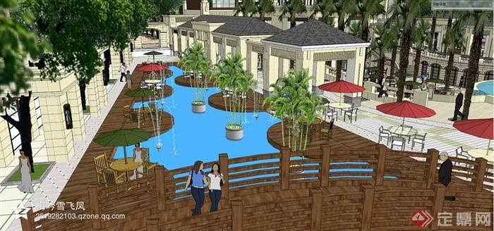 现代风格及欧式风格商住建筑-住宅景观水池园桥凉亭