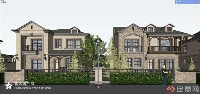 欧式,简欧建筑设计图-别墅建筑植物路灯-设计师图库