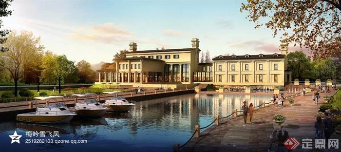 现代商业中心及欧式会所建筑-会所水池栏杆船只-设计