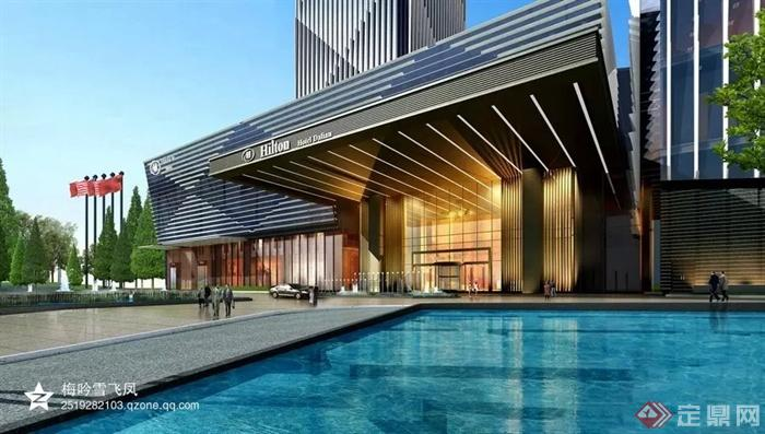 现代商业中心及欧式会所建筑-酒店水池-设计师图库