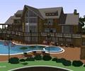 會所,商業建筑,泳池,路燈