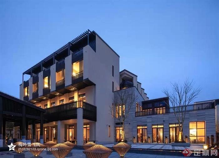 现代中式酒店会所方案,实景-酒店商业建筑-设计师图库图片