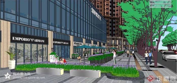 现代风格商业综合体建筑-商业环境花池坐凳步行街商铺