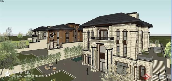 中式風格各種建筑設計方案圖-別墅建筑植物臺階-設計