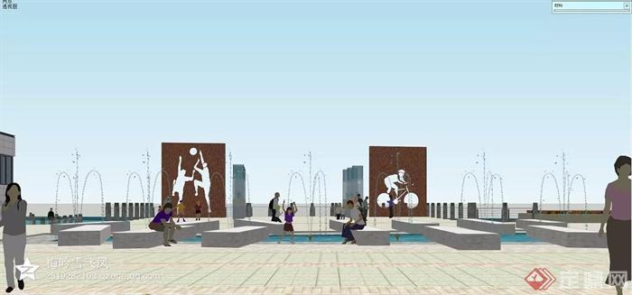 广场景观,坐凳,景墙,喷泉