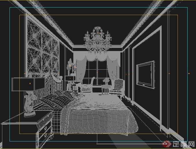 室内装饰某欧式风格卧室设计3dmax模型