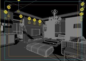 住宅空间客厅、餐厅室内设计3dmax模型