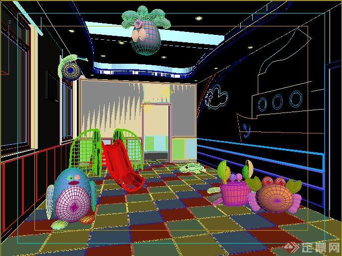 现代儿童活动室室内设计3dmax模型(1)