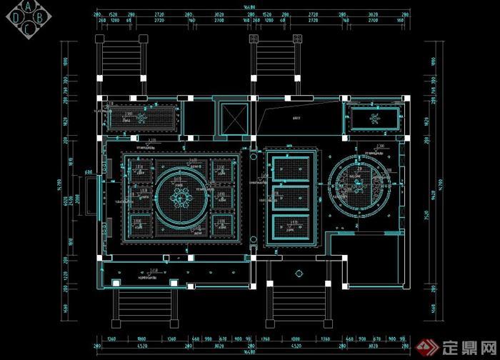 某別墅空間一層客廳與餐廳室內設計cad施工圖