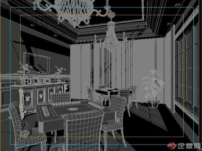 欧式风格棋牌室室内装饰3dmax模型