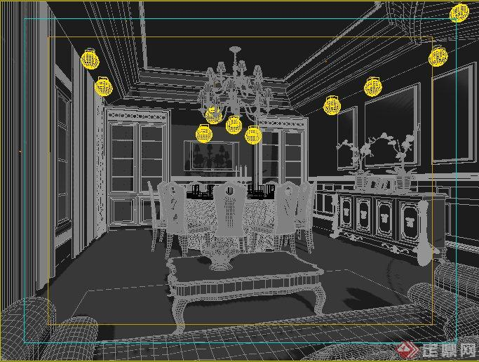 欧式风格商业餐厅包房室内设计3dmax模型