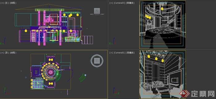 欧式别墅门厅及客厅室内设计3dmax模型