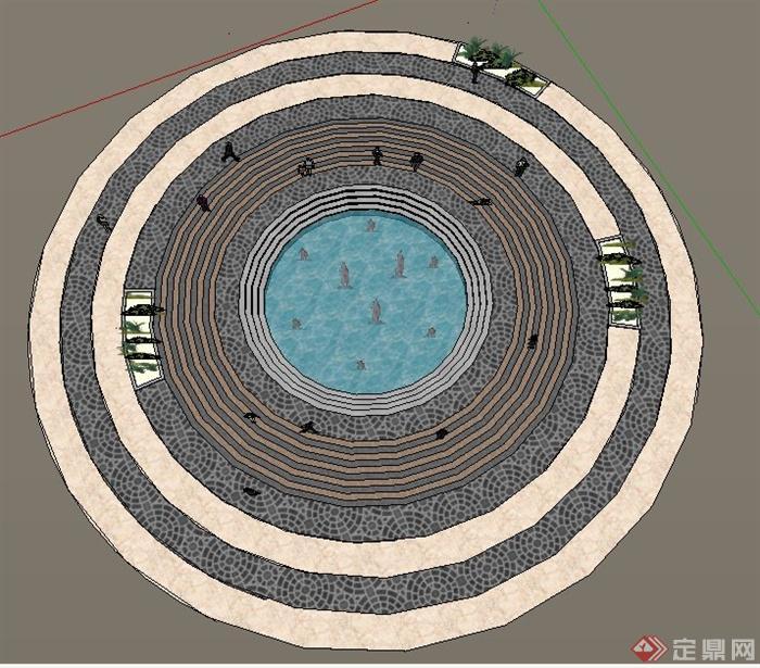 园林景观现代环形喷泉水景小广场su模型