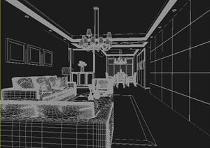 住宅餐厅及客厅室内装饰设计3dmax模型