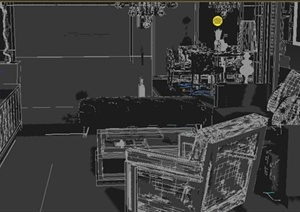 住宅空间餐厅、客厅室内设计3dmax模型
