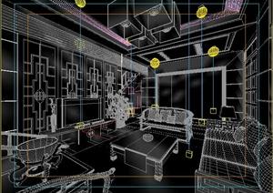 古典中式住宅客厅餐厅室内设计3dmax模型