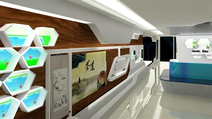 茶文化展厅装饰设计MAX模型 带效果图