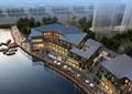 商业建筑,水景,桌椅,遮阳伞,小品,码头,船只,植物