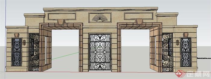 欧式风格小区入口大门su模型