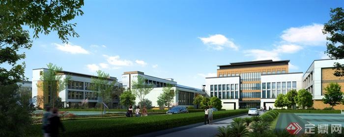 某中学规划设计效果图-学校教学楼学校景观球场树池
