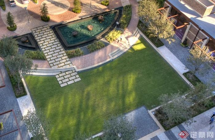 园林景观节点地面铺装设计图-地面铺装草坪植物-设计