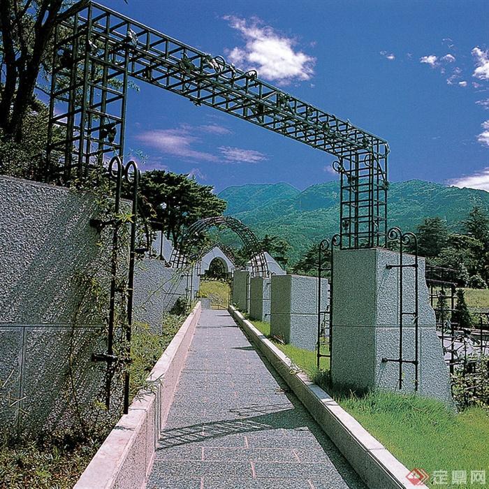 大门或入口景观设计图-门廊园路地面铺装-设计师图库