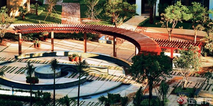 现代风格景观廊架实景-住宅景观廊架-设计师图库