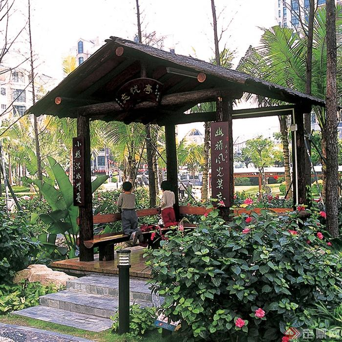 多款园林景观亭子设计图-亭子植物路灯-设计师图库
