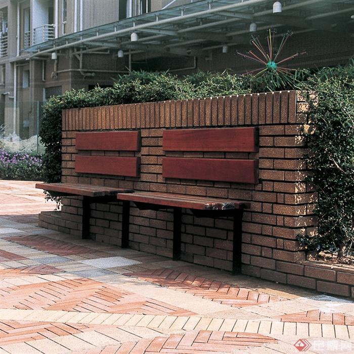 室外木制坐凳实景鉴赏-景墙条凳-设计师图库