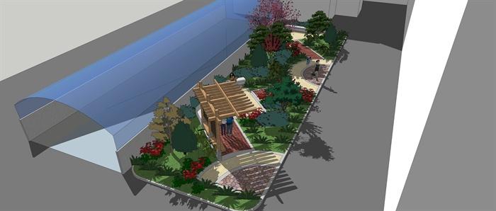小型绿地景观设计su模型