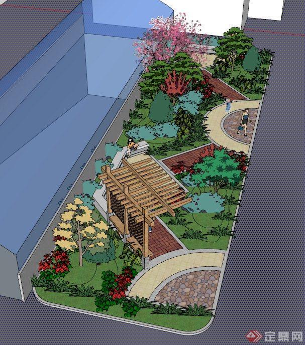 小型绿地景观设计su模型(2)