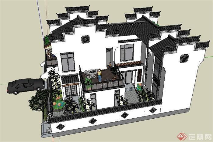 徽派中式风格别墅住宅建筑设计su模型(2)图片