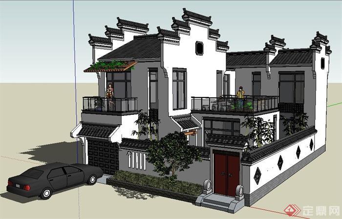 徽派中式风格别墅住宅建筑设计su模型(1)图片