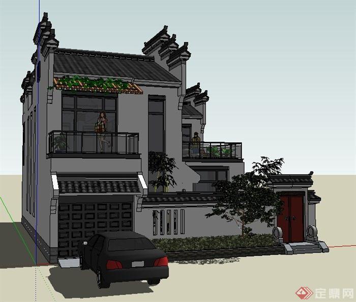 徽派中式风格别墅住宅建筑设计su模型(4)图片