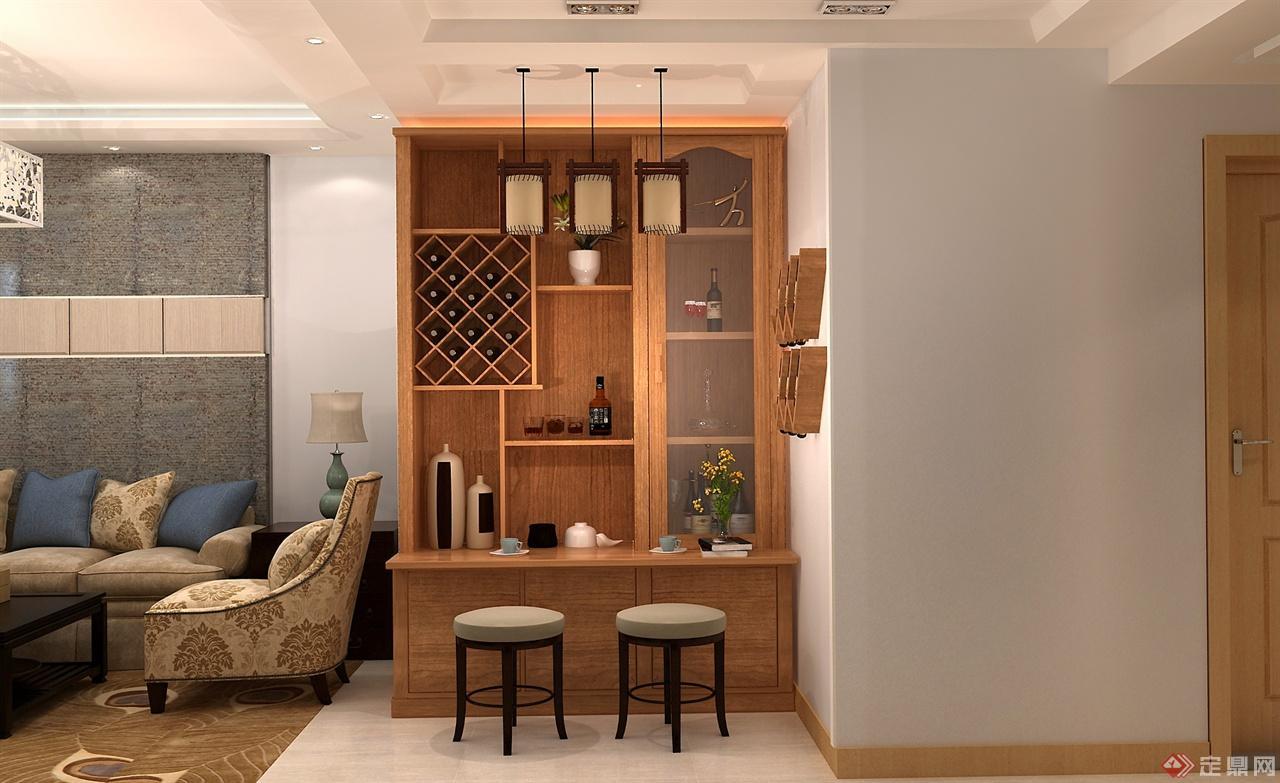 室内装修红木白酒柜