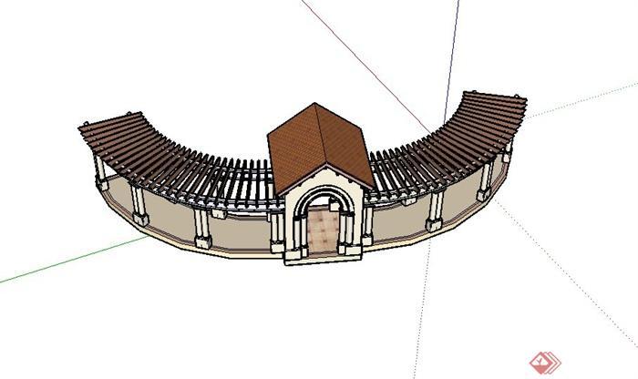 现代某景观节点廊架设计su模型