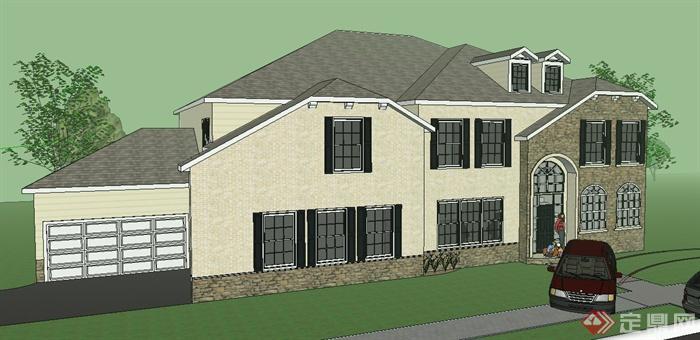 欧式风格某二层小别墅建筑设计su模型