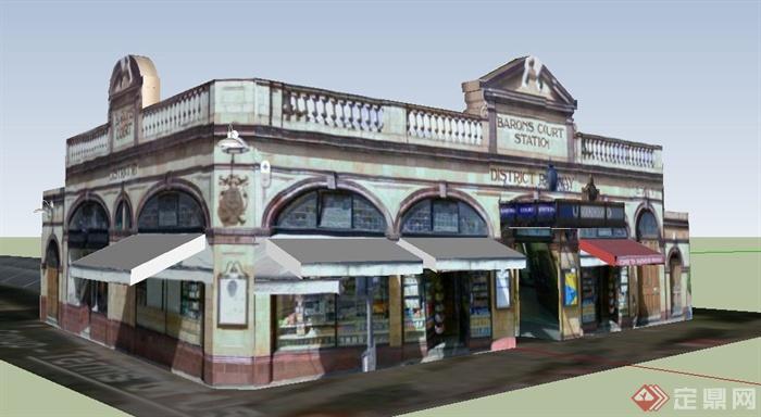 欧式风格沿街商铺商业建筑设计su模型(1)