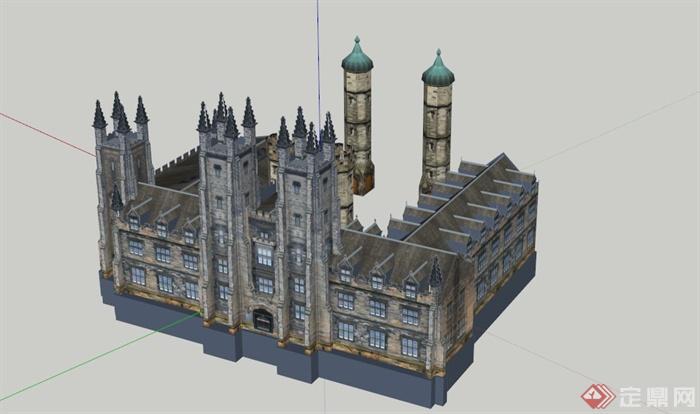 欧式学院建筑设计su模型