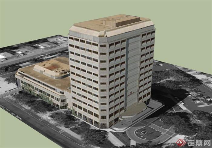 艺术教学楼建筑设计方案su精致设计模型[原创]