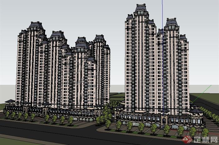 欧式风格高层商住建筑设计su模型