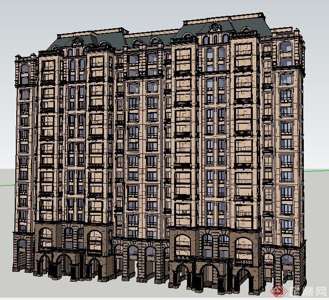 法式风格高层住宅建筑设计su模型(1)图片