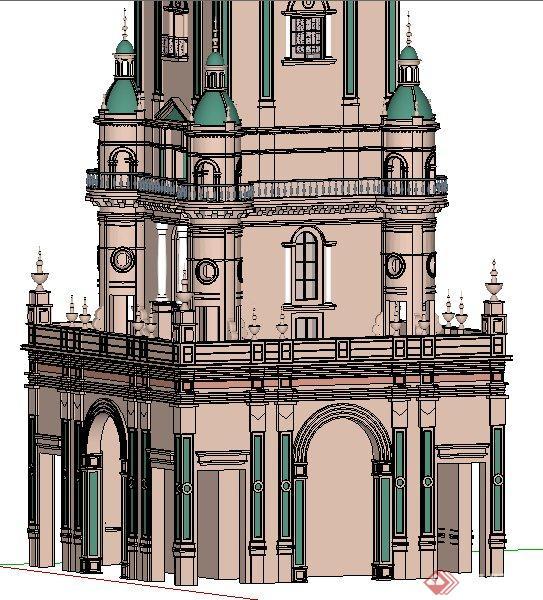 欧式风格景观塔楼su模型