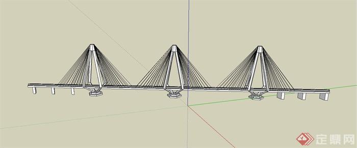 现代某高架桥设计su模型