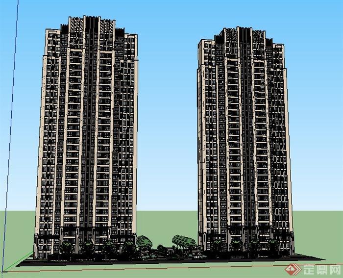 现代风格高层住宅楼建筑及大门设计su模型