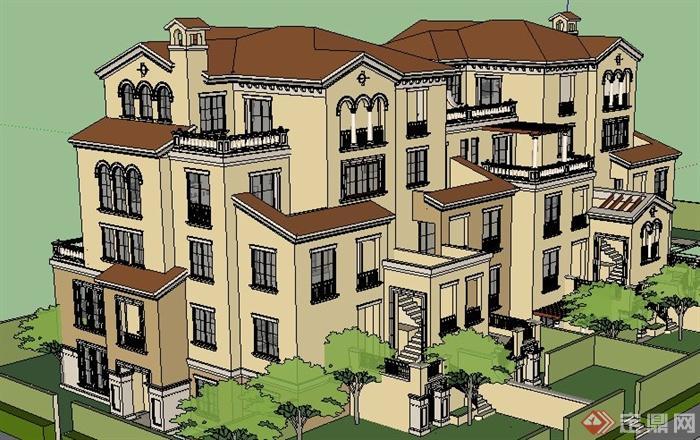 欧式风格拼接别墅住宅建筑设计su模型