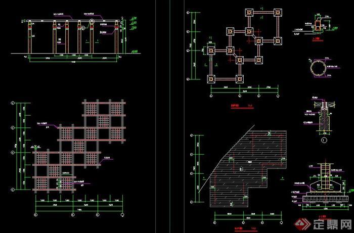 木质交叉型廊架设计cad施工图