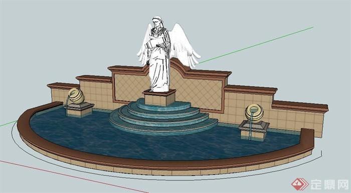 欧式风格园林雕塑水景su模型