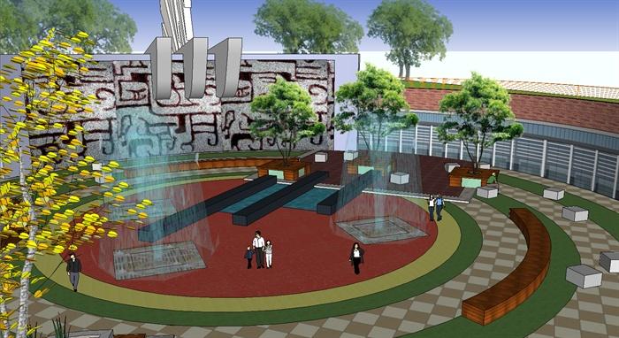 圆形小广场景观设计su模型[原创]